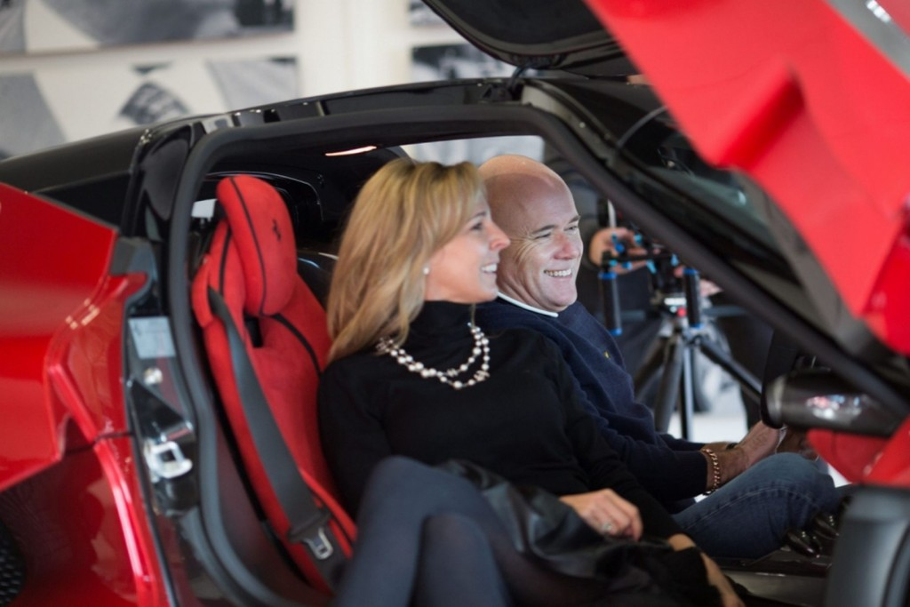 Paul Bailey and his wife inside the Ferrari LaFerrari